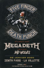 Un line-up de poids au Zénith de Paris le 28 janvier 2020 : Five Finger Death Punch, Megadeth et Bad Wolves