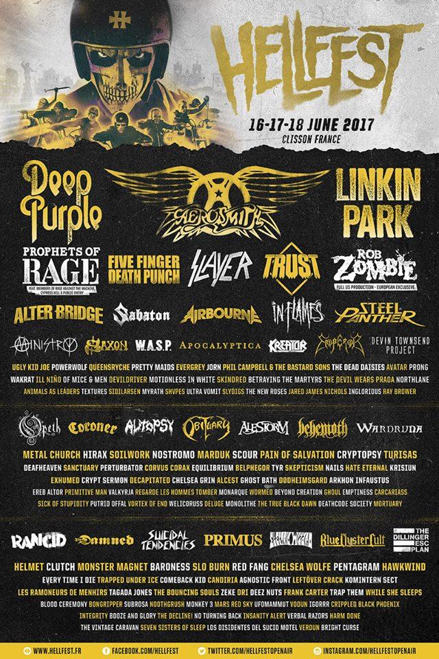 FESTIVAL / Premier lâché de noms pour le Hellfest ! Linkin Park, Deep Puple, Trust, Slayer, etc. rejoignent Aerosmith à l'affiche de l'édition 2017