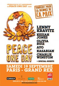Peace One Day : un concert avec Lenny Kravitz, Olivia Ruiz, Keziah Jones...