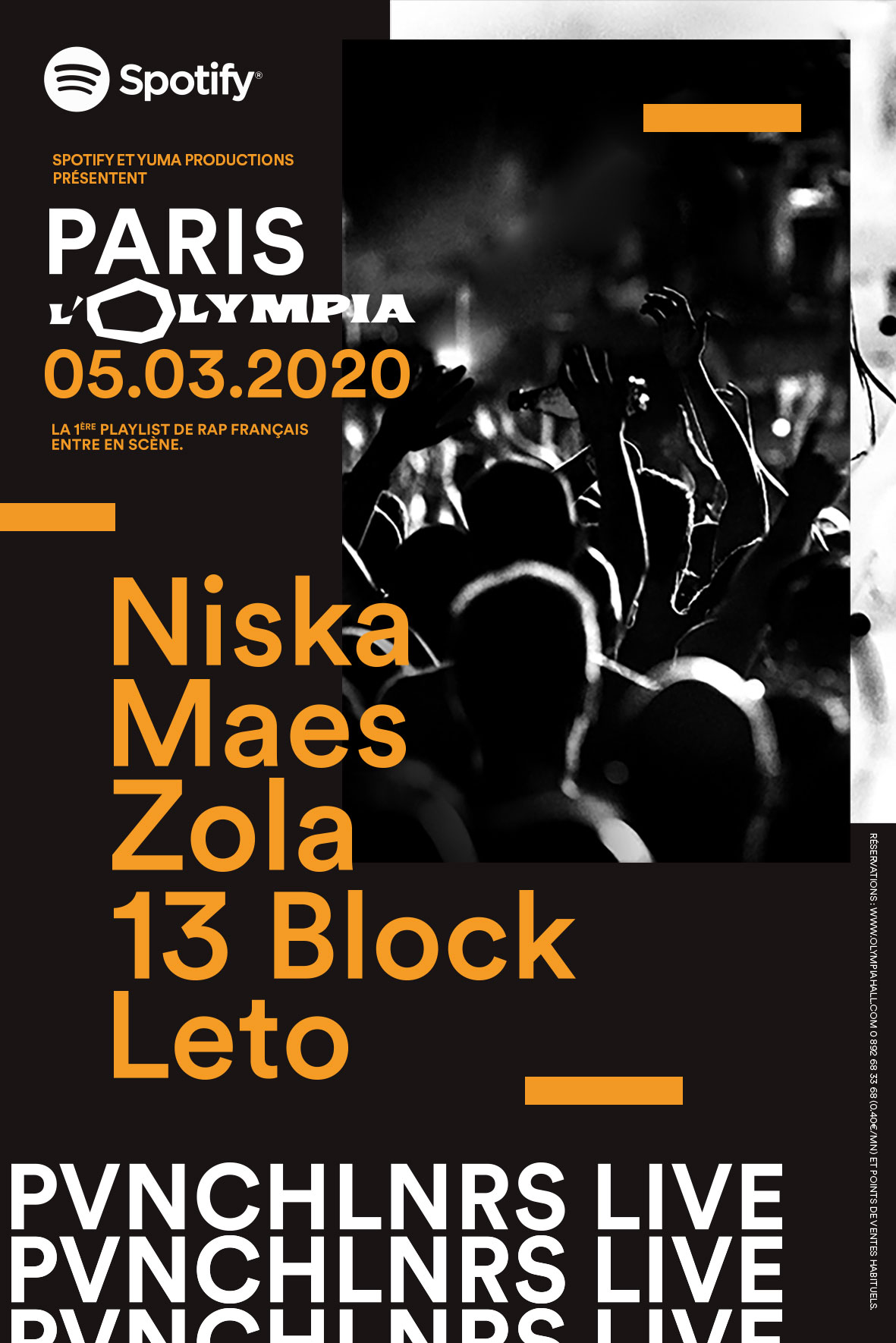 PVNCHLNRS LIVE ou la playlist rap Spotify en concert avec Zola, Niska, Maes, 13 Block, etc.